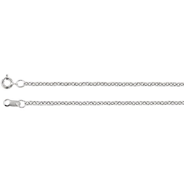 "18K White Gold 1.5 mm Solid Cable 18"" Chain - Pranic Lifestyle"