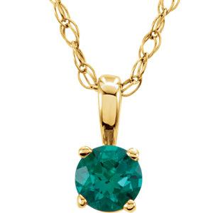 "14K Yellow Gold Emerald ""May"" Birthstone 14"" Necklace - Pranic Lifestyle"