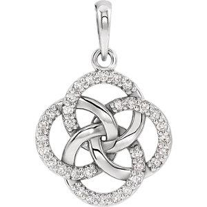 14K White Gold 1/8 CTW Diamond Five-Fold Celtic Pendant - Pranic Lifestyle