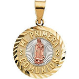 14K Yellow & Rose Gold 26x18 mm Mi Primera Communion (1st Holy Communion) Medal - Pranic Lifestyle