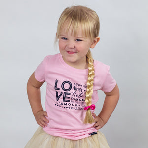 GIRLS LOVE MULTI-LANGUAGE Pink Short Sleve T-shirt - FABVOKAB
