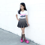 CREATIVE MIND Black and Neon Pink Short Sleeve T-shirt - FABVOKAB