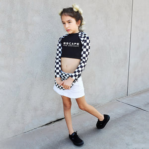 ESCAPE THE ORDINARY GIRLS, KIDS CHECKBOARD BLACK AND WHITE LONG SLEEVE  CROP TOP
