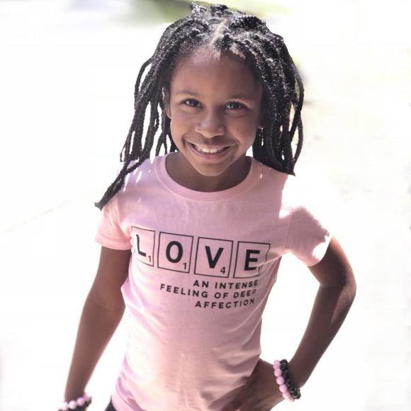 GIRLS LOVE AND AFFECTION Pink Short Sleve T-shirt - FABVOKAB