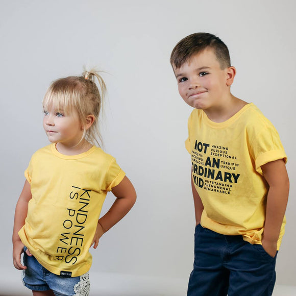 KINDNESS IS POWER Yellow Short Sleve Kids T-shirt - FABVOKAB