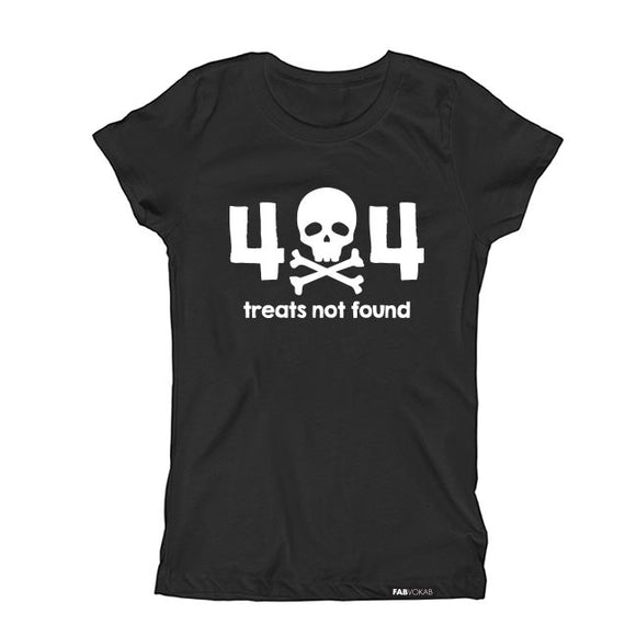 404 ERROR TREATS NOT FOUND HALLOWEEN Short Sleeve T-shirt for kids - FABVOKAB