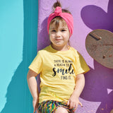 REASON TO SMILE Yellow Short Sleve Kids T-shirt - FABVOKAB