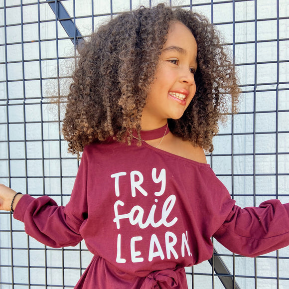 TRY FAIL LEARN Burgundy Girls Asymmetrical Dress with belt (only size 10)