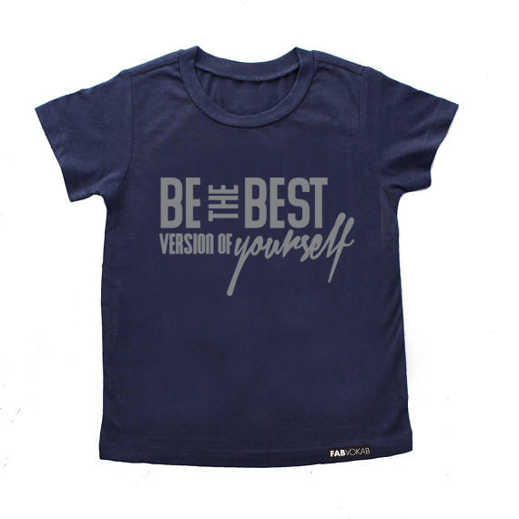 BE THE BEST VERSION OF YOURSELF Navy Short Sleeve T-shirt - FABVOKAB