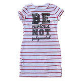 BE CURIOUS NOT JUDGEMENTAL GIRLS WHITE AND RED STRIPED DRESS - FABVOKAB