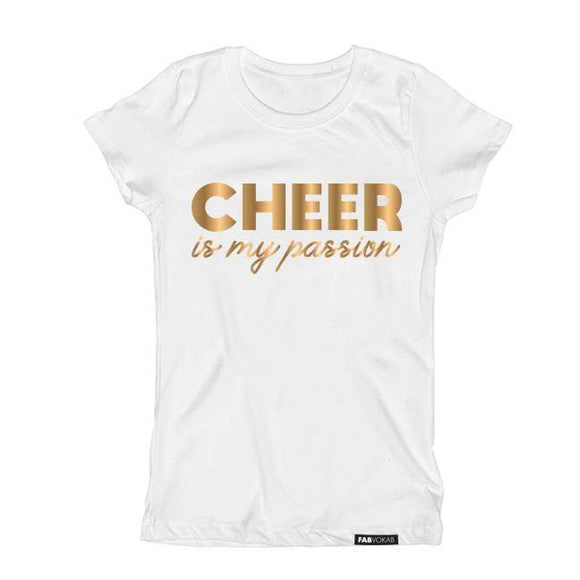 CHEER is my passion in Gold Foil Short Sleeve T-shirt - FABVOKAB