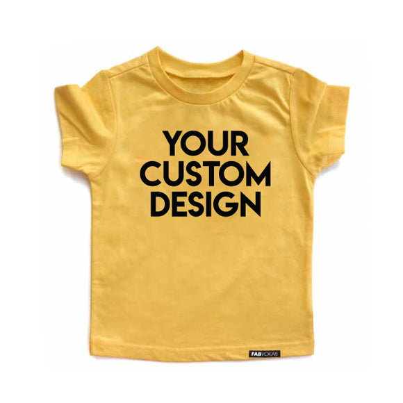 CUSTOM DESIGN Yellow Short Sleeve T-shirt - FABVOKAB