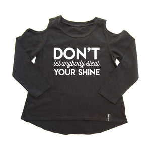 DON'T LET ANYBODY STEAL YOUR SHINE COLD SHOULDER TUNIC - FABVOKAB