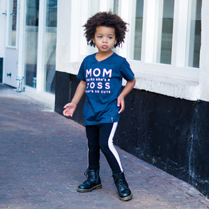 MOM THINKS SHE'S A BOSS Blue Short Sleve T-shirt - FABVOKAB