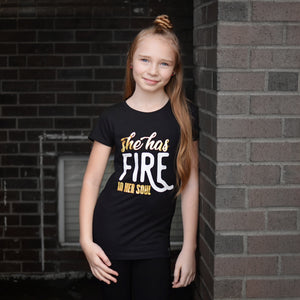 SHE HAS FIRE IN HER SOUL Short Sleeve T-shirt - FABVOKAB