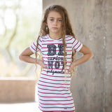 BE CURIOUS NOT JUDGEMENTAL GIRLS WHITE AND RED STRIPED DRESS