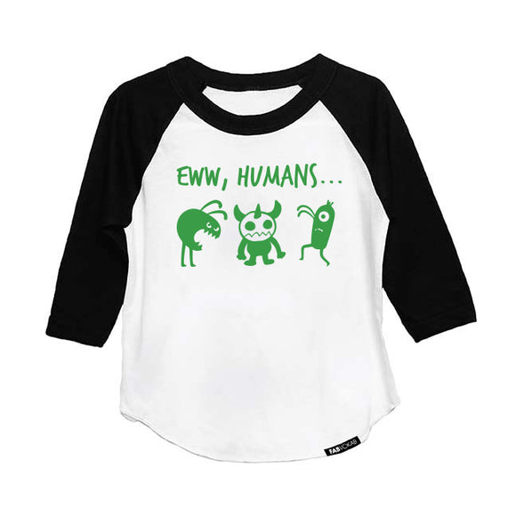 EWW, HUMANS... KIDS, GIRLS, BOYS HALLOWEEN LONG SLEEVE RAGLAN