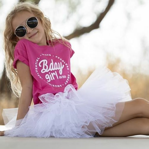BIRTHDAY GIRL. Kids PINK graphic tee