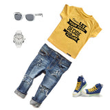 NEVER LET YOUR FEAR DECIDE YOUR FUTURE Yellow Short Sleve Kids T-shirt - FABVOKAB