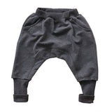 LONDON UNISEX DARK GRAY KIDS HAREM PANTS - FABVOKAB