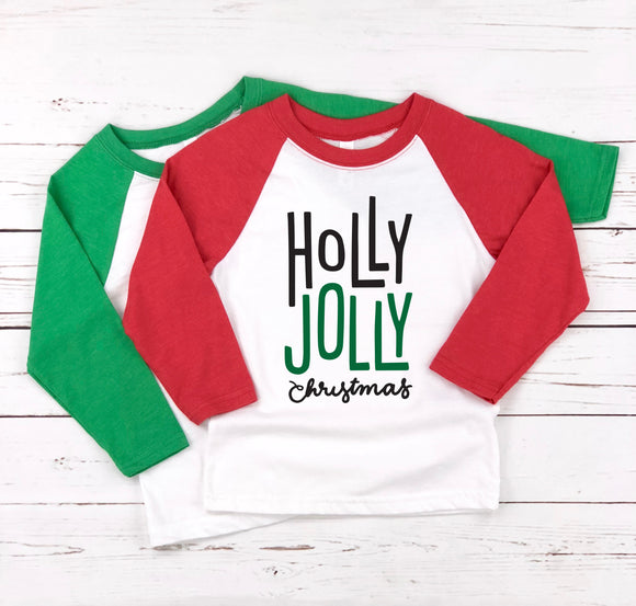HOLLY JOLLY CHRISTMAS KIDS, GIRLS, BOYS, TEENS HOLIDAYS RAGLAN