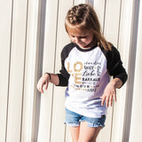 LOVE MULTI-LANGUAGE GOLD GLITTER RAGLAN - FABVOKAB