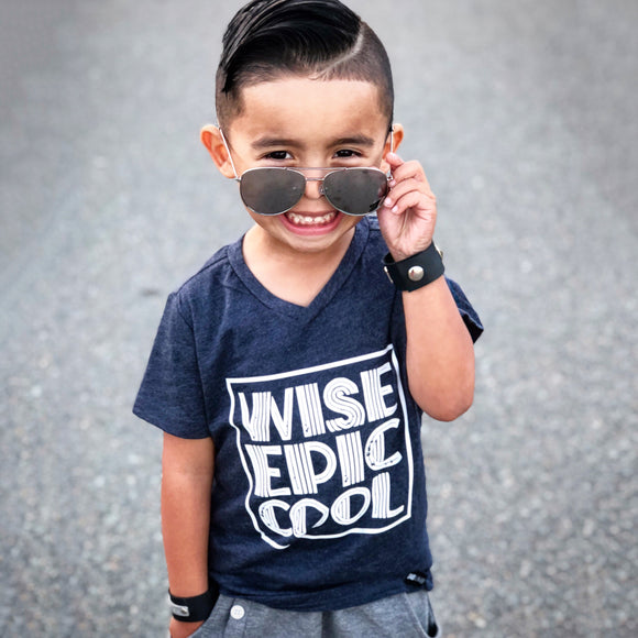 WISE EPIC COOL Blue Short Sleve T-shirt - FABVOKAB