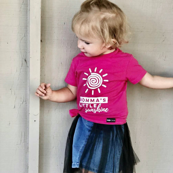 Momas's Little sunshine Kids PINK graphic tee - FABVOKAB