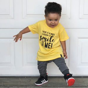 REASON TO SMILE JUST LOOK AT ME Yellow Short Sleve Kids T-shirt - FABVOKAB