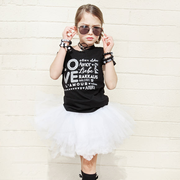 LOVE MULTI-LANGUAGE Silver Glitter Short Sleve T-shirt - FABVOKAB