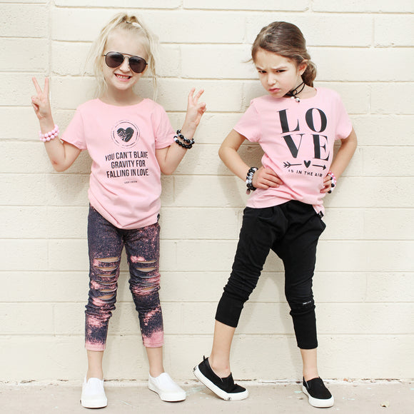 GIRLS LOVE AND GRAVITY Pink Short Sleve T-shirt - FABVOKAB