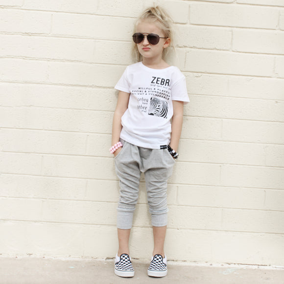 LONDON UNISEX LIGHT GRAY KIDS HAREM PANTS - FABVOKAB