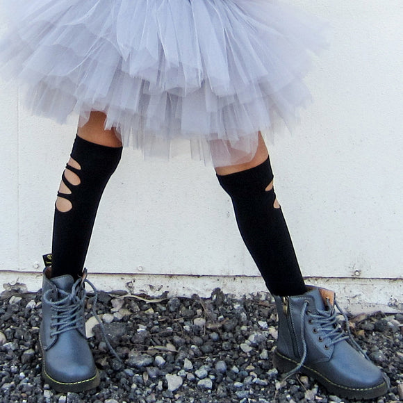 GIRLS DISTRESSED KNEE HIGH BLACK SOCKS - FABVOKAB