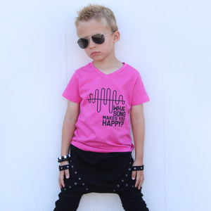 WHAT SONG MAKES YOU HAPPY? Kids PINK graphic tee - FABVOKAB