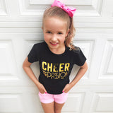 CHEER MY PASSION in Gold Foil Short Sleeve T-shirt - FABVOKAB