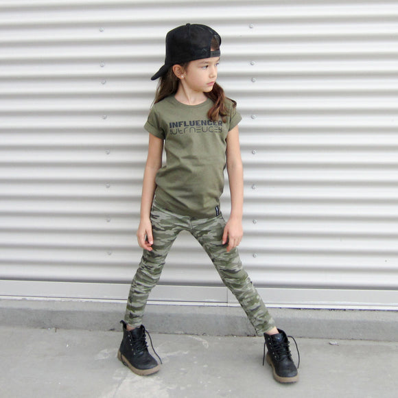 INFLUENCER Army Green Short Sleve T-shirt - FABVOKAB