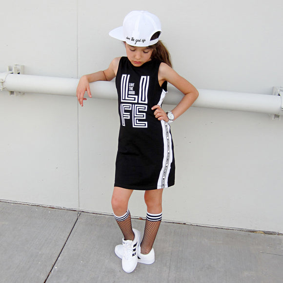 LIVE THE GOOD LIFE GIRLS BLACK SPORTY TANK DRESS - FABVOKAB