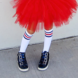 GIRLS KNEE HIGH WHITE WITH BLUE AND RED STRIPES SOCKS - FABVOKAB