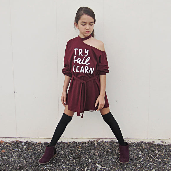 TRY FAIL LEARN Girls Asymmetrical Dress with belt (burgundy or black)