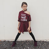 TRY FAIL LEARN Girls Asymmetrical Dress with belt (burgundy or black) - FABVOKAB