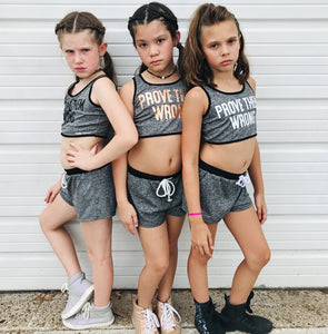 PROVE THEM WRONG Girls Grey Crop Top and Shorts Set