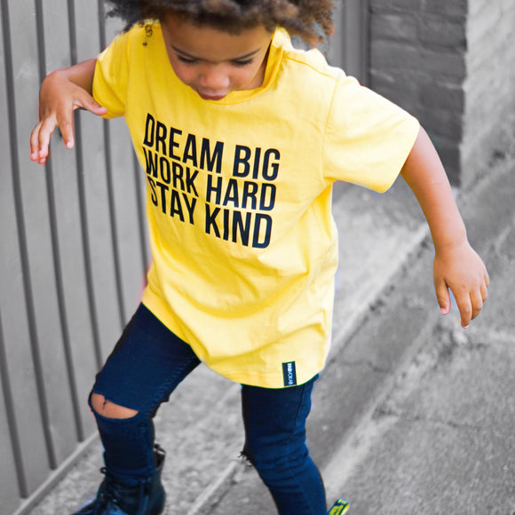 DREAM BIG WORK HARD STAY KIND Yellow Short Sleeve T-shirt - FABVOKAB