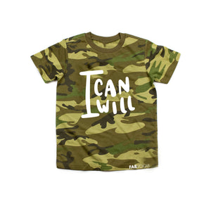 I CAN I WILL CAMO GREEN Kids Short Sleeve T-shirt - FABVOKAB