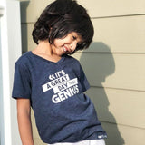 GENIUS Blue Short Sleeve V-neck T-shirt