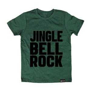 JINGLE BELL ROCK Green or Red Short Sleeve Kids T-shirt - FABVOKAB