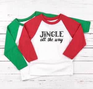 JINGLE ALL THE WAY KIDS, GIRLS, BOYS, TEENS HOLIDAYS RAGLAN