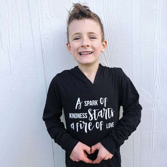 A SPARK OF KINDNESS Long Sleeve  Hooded Sweatshirt - FABVOKAB