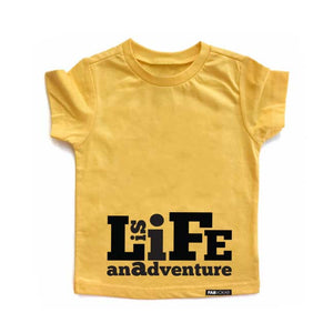 LIFE IS AN ADVENTURE Yellow Short Sleve Kids T-shirt - FABVOKAB