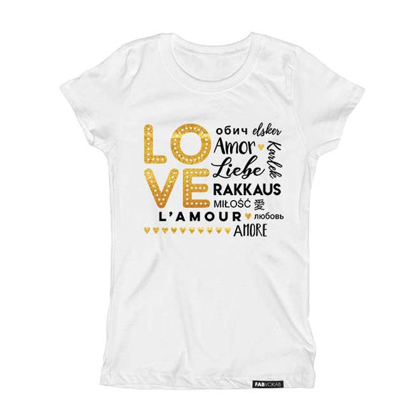 LOVE MULTI-LANGUAGE gold glitter Valentine's Short Sleve T-shirt - FABVOKAB