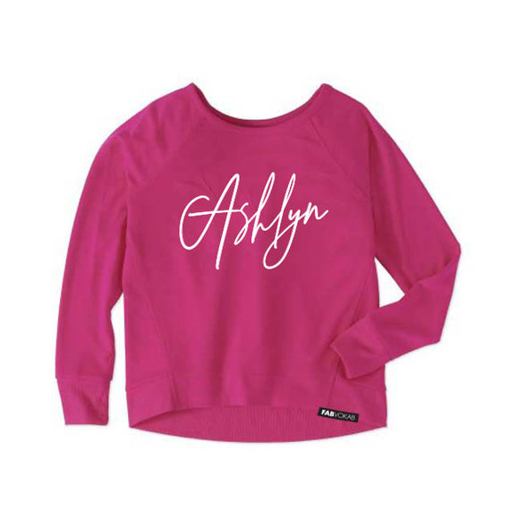 CUSTOM NAME GIRLS' ATHLETIC SWEATSHIRT (PINK) - FABVOKAB
